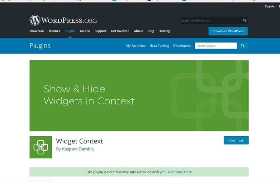 Vis eller skjul widgeter med – Widget context
